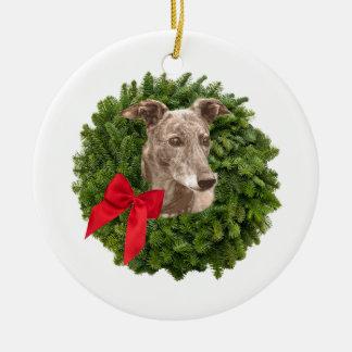 Greyhound in Xmas Wreath Christmas Tree Ornament