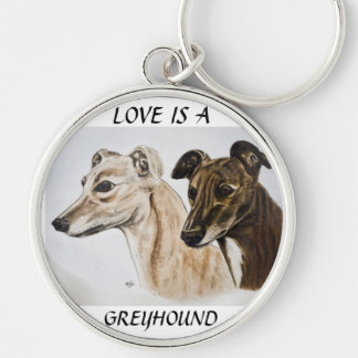 Greyhound Keyring Silver-Colored Round Keychain