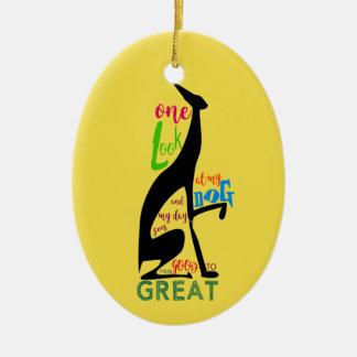 Greyhound Love My Dog Italian Silhouette Black Ceramic Ornament