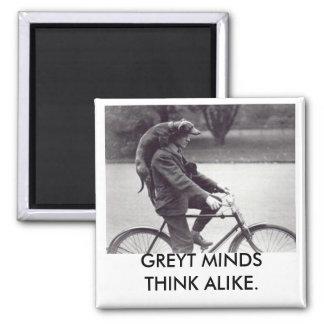 Greyhound & man on bike, GREYT MINDS THINK ALIKE 2 Inch Square Magnet