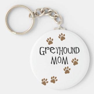 Greyhound Mom Basic Round Button Keychain