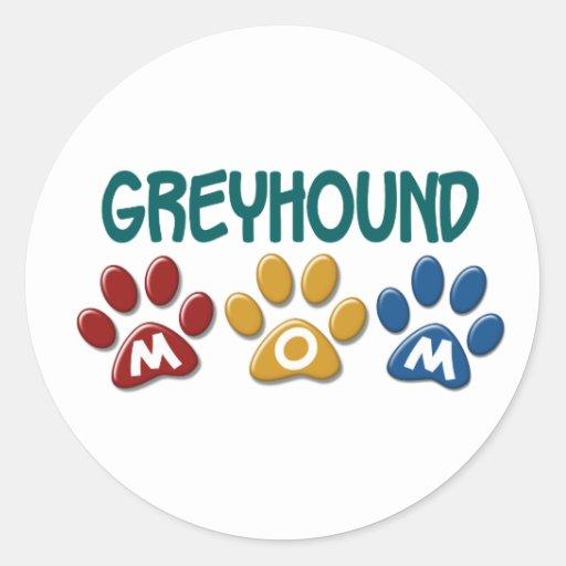 GREYHOUND Mom Paw Print 1 Classic Round Sticker