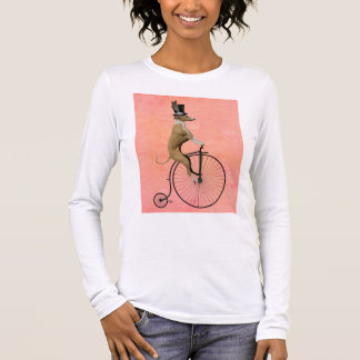 Greyhound on Black Penny Farthing Long Sleeve T-Shirt