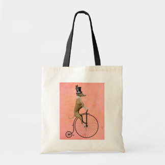 Greyhound on Black Penny Farthing Tote Bag