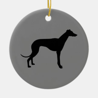 Greyhound on Gray Double-Sided Ceramic Round Christmas Ornament