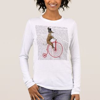 Greyhound on Red Penny Farthing Bike Long Sleeve T-Shirt