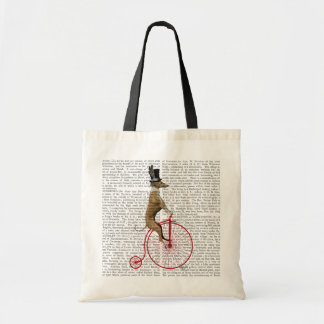 Greyhound on Red Penny Farthing Bike Tote Bag