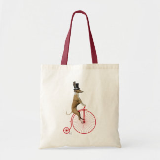 Greyhound on Red Penny Farthing Tote Bag