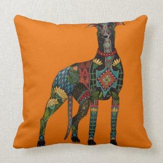 greyhound orange throw pillow