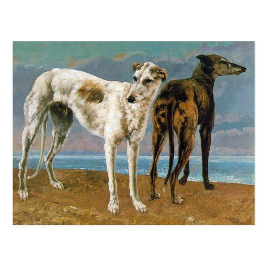 Greyhound Painting - Two Greyhounds - Vintage Art Postcard