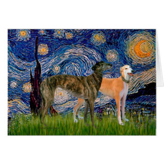 Greyhound Pair - Starry Night Greeting Card