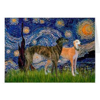 Greyhound Pair - Starry Night Greeting Cards