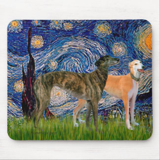 Greyhound Pair - Starry Night Mouse Pad