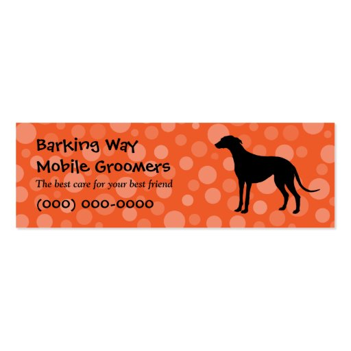 Greyhound Pet Care Orange Double-Sided Mini Business Cards (Pack Of 20)