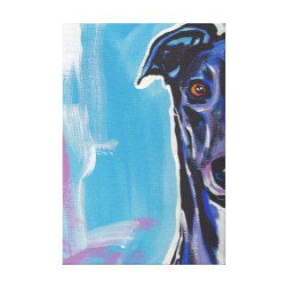 Greyhound Pop Dog Art on Wrapped Canvas Canvas Print