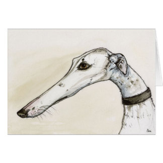 Greyhound Portrait Illustration Greeting Card