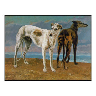 Greyhound Poster/Print:  Two Greyhounds - Vintage Poster