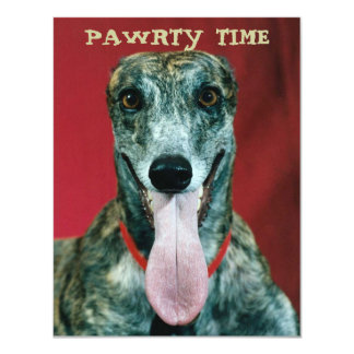 GREYHOUND PUP DOG PAWRTY PARTY INVITE INVITATION