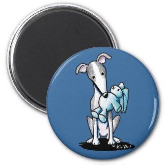 Greyhound Rabbit Lover 2 Inch Round Magnet