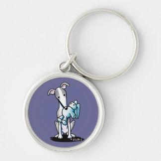 Greyhound Rabbit Lover Silver-Colored Round Keychain