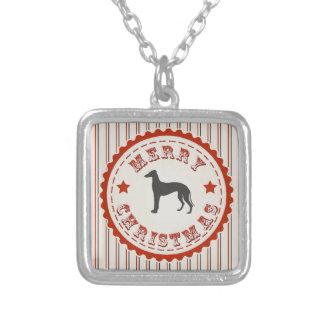 Greyhound Racer Merry Christmas Retro Emblem Silver Plated Necklace