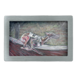 Greyhound, racing art for sports and dog lovers. belt buckle