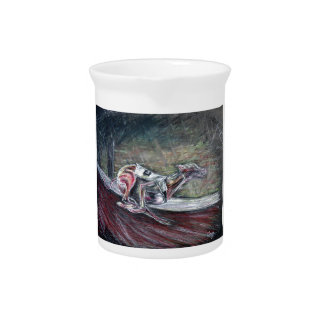 Greyhound, racing art for sports and dog lovers. pitcher