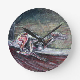 Greyhound, racing art for sports and dog lovers. round clock