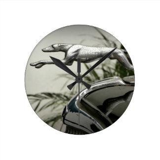 Greyhound Radiator Cap Round Clock