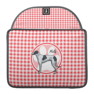 Greyhound; Red and White Gingham Sleeves For MacBook Pro