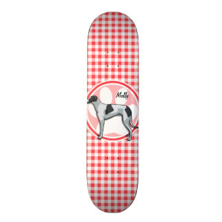 Greyhound; Red and White Gingham Skateboard