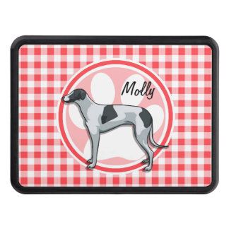 Greyhound; Red and White Gingham Tow Hitch Covers