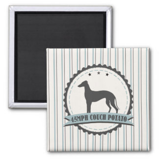 Greyhound Retired Racer 45 mph Lazy Dog 2 Inch Square Magnet
