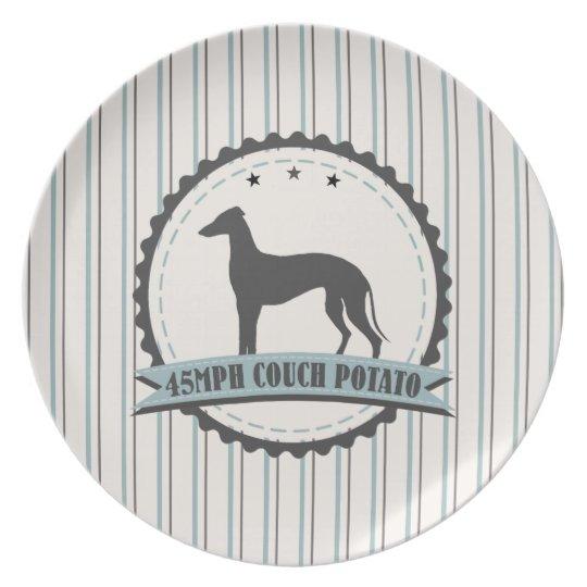 Greyhound Retired Racer 45 mph Lazy Dog Melamine Plate