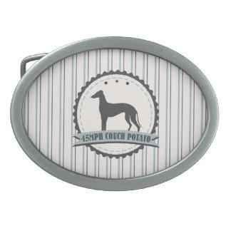 Greyhound Retired Racer 45 mph Lazy Dog Oval Belt Buckle