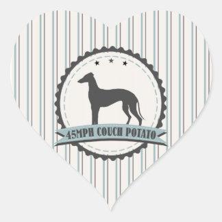 Greyhound Retired Racer 45mph Lazy Dog Heart Sticker