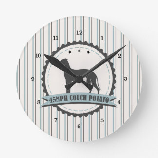 Greyhound Retired Racer 45mph Lazy Dog Round Clock