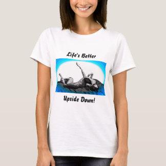Greyhound Roach Upside Down on White T-Shirt