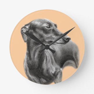 Greyhound Round Clock