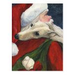 Greyhound Santa Christmas Dog Art Postcard