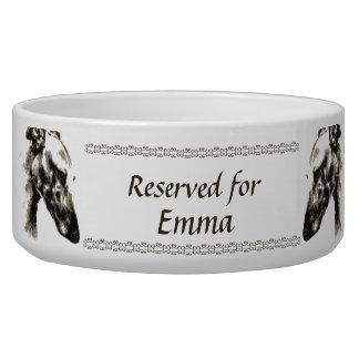 Greyhound Sepia Portrait Custom Personalized Name Bowl