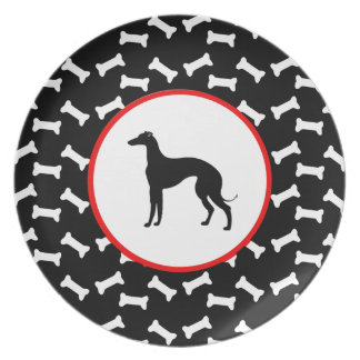 Greyhound Silhouette Black and White Dog Bone Party Plates