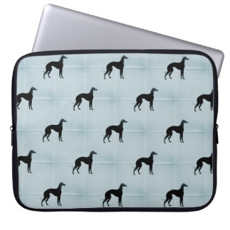 Greyhound Silhouette Blue Tile Dog Pattern Laptop Sleeve