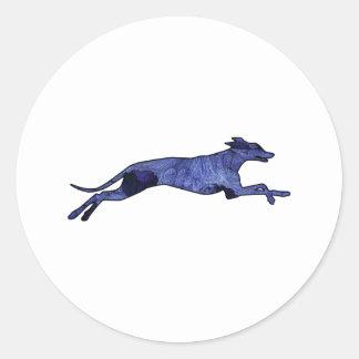 Greyhound Silhouette Fractal Classic Round Sticker