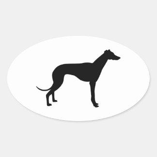 Greyhound Silhouette Oval Sticker