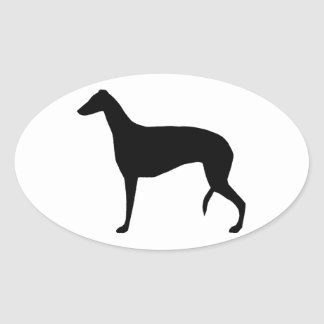 greyhound silhouette oval sticker
