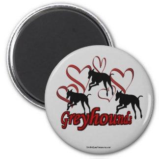 Greyhound Silhouette Red Hearts 2 Inch Round Magnet