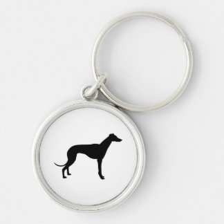 Greyhound Silhouette Silver-Colored Round Keychain