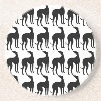 Greyhound Silhouette Tiled Pattern Coaster