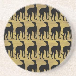Greyhound Silhouette Tiled Pattern on Bronze Drink Coaster